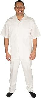 Men's 100% Linen 2 Piece Walking Set with Long Pants and Short Sleeve Shirt