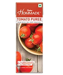Dabur Hommade Tomato Puree- Made from 100% Ripe Tomatoes - No Added preservatives - 200 gm