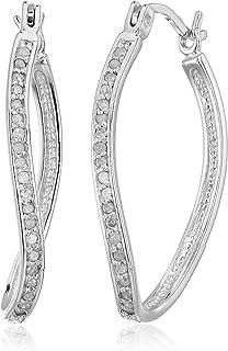1/4 cttw Diamond Hoop Earrings .925 Sterling Silver 1 Inch