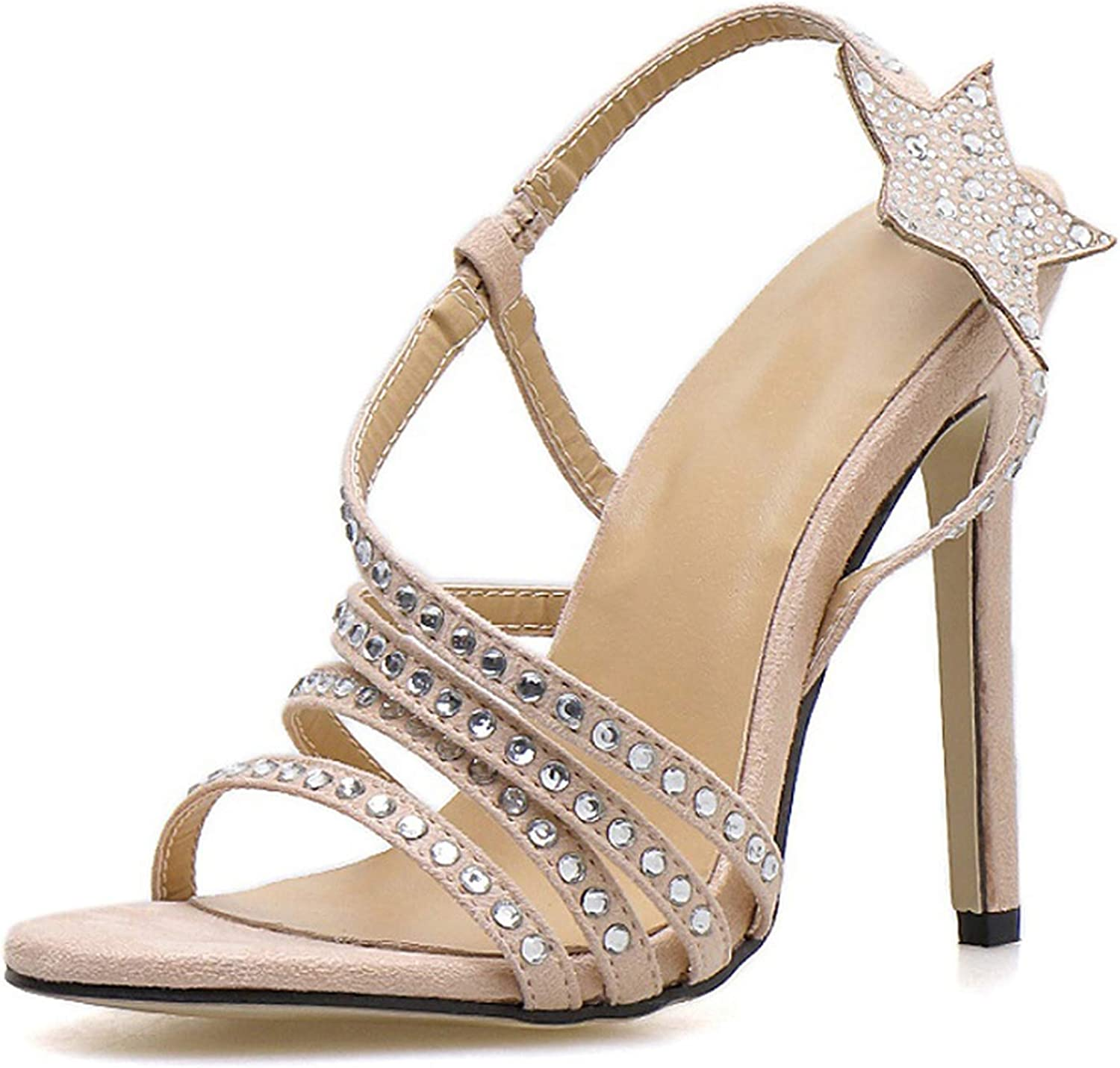 April With You Summer Rhinestone Sandals Sexy Stiletto Open Toe High Heels Hollow Thin Back Strap Crystal Sandals