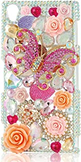 STENES Sony Xperia XA1 Ultra Case - 3D Handmade Crystal Butterfly Rose Flowers Sparkle Rhinestone Design Cover Case for Sony Xperia XA1 Ultra Retro Dust Plug - Pink