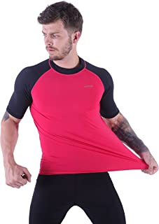H.MILES Men's UV Protection Rash Guard Swim Shirts Short Sleeve Moisture Wicking T-Shirts