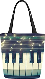 InterestPrint Music Note Piano Canvas Tote Bag Shoulder Handbag for Women Girls