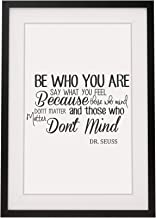 Four Leaf Clover Gift Shop Inspirational Dr Seuss Quote - 'Be Who You are' - Framed Print with Mount - 12 x 10 Inch.