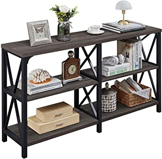 LVB Industrial Console Table, Rustic Wood and Metal Sofa Table, Hallway Entry Table for Home Living Room, Foyer Accent Ent...