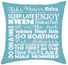 Bnitoam Life Sentiment Phrases Lake House Rules Sleep Late Enjoy Swim Friends and Family Cotton Linen Throw Pillow Covers Case Cushion Cover Sofa Decorative Square 18 x 18 inch (2)