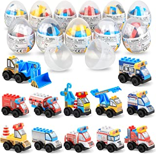 SmilePowo Building Bricks Building Blocks Surprise Egg with Mini Car Vehicle Toy Inside, 12 Pack 153 Pieces Building Kit Easter Eggs for Kids Boys Girls Toddlers Gifts Easter Basket Stuffers Fillers