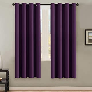 H.VERSAILTEX Ultra Soft Microfiber Thermal Insulated Antique Copper Grommet Blackout Curtains/Window Treatment Draperies 52 by 72 - Inch for Living Room/Bedroom,Set of 2 - Plum Purple