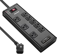 DEWENWILS 8-Outlet Surge Protector Power Strip with 2 USB Ports and Circuit Breaker, 45 Degree Angle Flat Plug, 6 FT Long Fabric Extension Cord, Heavy Duty Black Metal Shell, 1050 Joules, UL Listed