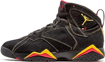 NIKE Mens Air Jordan 7 Retro Citrus Black/Citrus-Varsity Red Suede