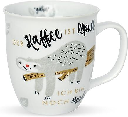 Happy Life 45180 Tasse mit Spruch Der Kaffee ist kaputt, ich bin noch müde, Tier-Motiv, Faultier, Porzellan, Geschenk-Tasse preisvergleich bei geschirr-verleih.eu