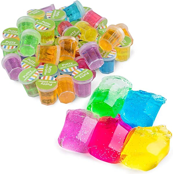 Kicko Mini Putty With Glitter 48 Pack Assorted Neon Color Sludge Educational Fidget Toy Ideal For Relaxation And Sensory Stimulation Event Prizes Goody Bags Activity Set Kids Boys And Girls