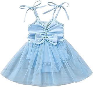 رضيع طفل بنت قميص قصير فستان رومبير مع زخرفة القوس مولود جديد حلو جذاب شبكة خياطة بذلة (Color : Blue, Kid Size : 24M)