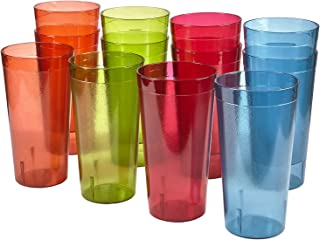 Café 32-ounce Plastic Restaurant-Style Tumblers   set of 12 in 4 Assorted Colors