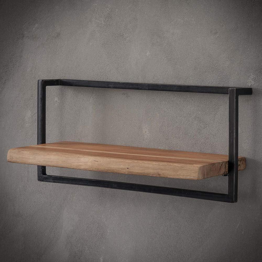 Wall Shelf 9 cm Wide Acacia Solid Wood Metal Storage Shelf
