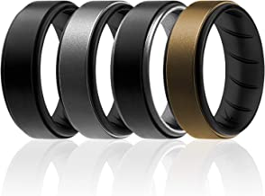 ROQ Silicone Ring for Men - Breathable Silicone Rings with Comfort Fit Air Flow Design - Step Edge - Comes in 1/4/7 Packs - Mens Silicone Rubber Medical Grade Bands - Safe Wedding Rings for Men