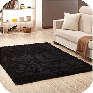 Carpet for Living Room Home Warm Plush Floor Rugs Fluffy Mats Kids Room Silky Rugs Faux Fur Area Rug Living Room Mats Yoga Mat,Black,140Cmx200Cm