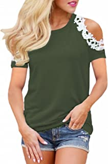 StyleDome Women's Casual Short Sleeve Lace Shirt Cold Shoulder Summer Tops Basic Tee Shirt
