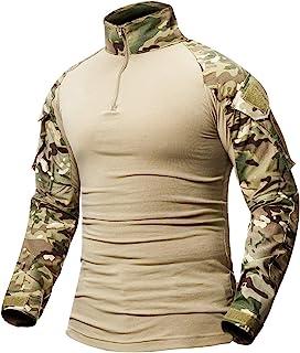 CARWORNIC Men's Tactical Combat Shirt, Long Sleeve Camo Airsoft Army Military T Shirt