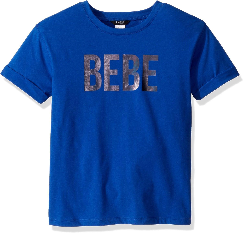 bebe Girls' Big White Logo Tee