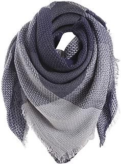 Women Colorful Stitch Plaid Cashmere Wool Shawl Long Neck Scarf