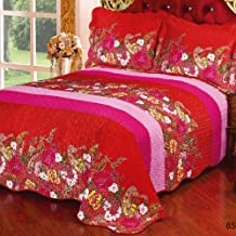 Quilted Bedspread 3-Piece Patchwork Double Quilt Throw Printing Country Style Multifunction Blanket Double Sided Silk 100%...