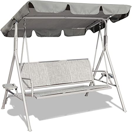 GOLDSUN Outdoor Canopy Swing Seat with Stand,Swinging Hammock Lounge Chair with Weather Resistant Powder Coated Steel Frame and Adjustable Canopy for Garden Patio Porch Poolside Backyard(Grey)