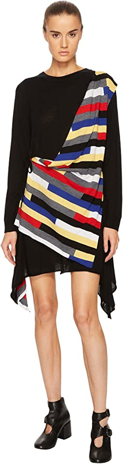 Runway Broken Stripe Intarsia Drape Front Long Sleeve Dress