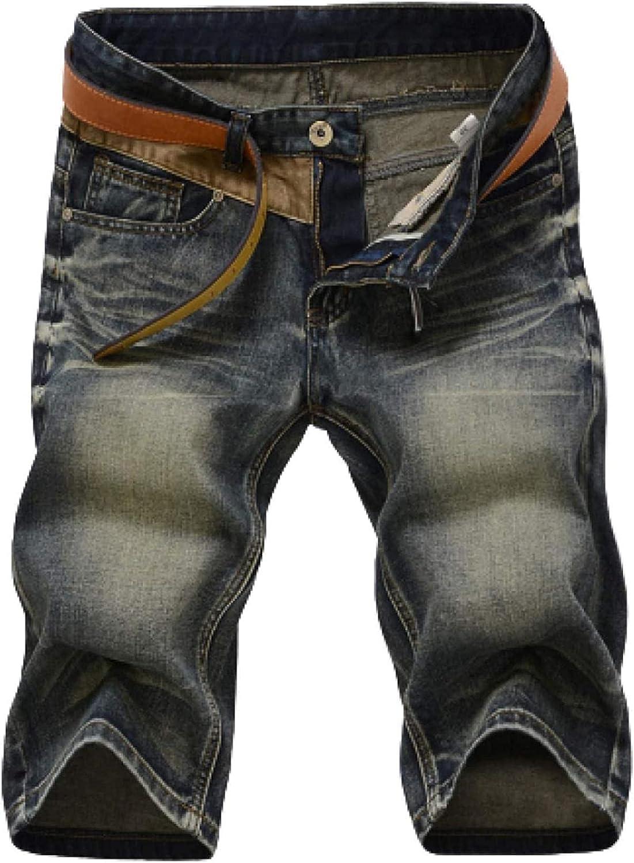 Men's Retro Style Distressed Denim Shorts Classic 5-Pocket Straight Stretch