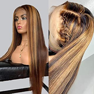 150 Density Honey Blonde Highlight Lace Front Wig Straight Color 4/27 Brown Ombre Lace Front Wigs Human Hair Wigs For Wome...