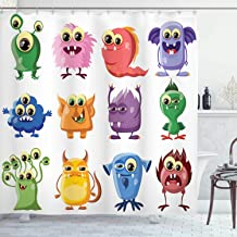Ambesonne Funny Shower Curtain, Animated Bacteria Aliens Theme Germ Whimsical Cartoon Monsters Humor Faces Graphic, Cloth Fabric Bathroom Decor Set with Hooks, 70