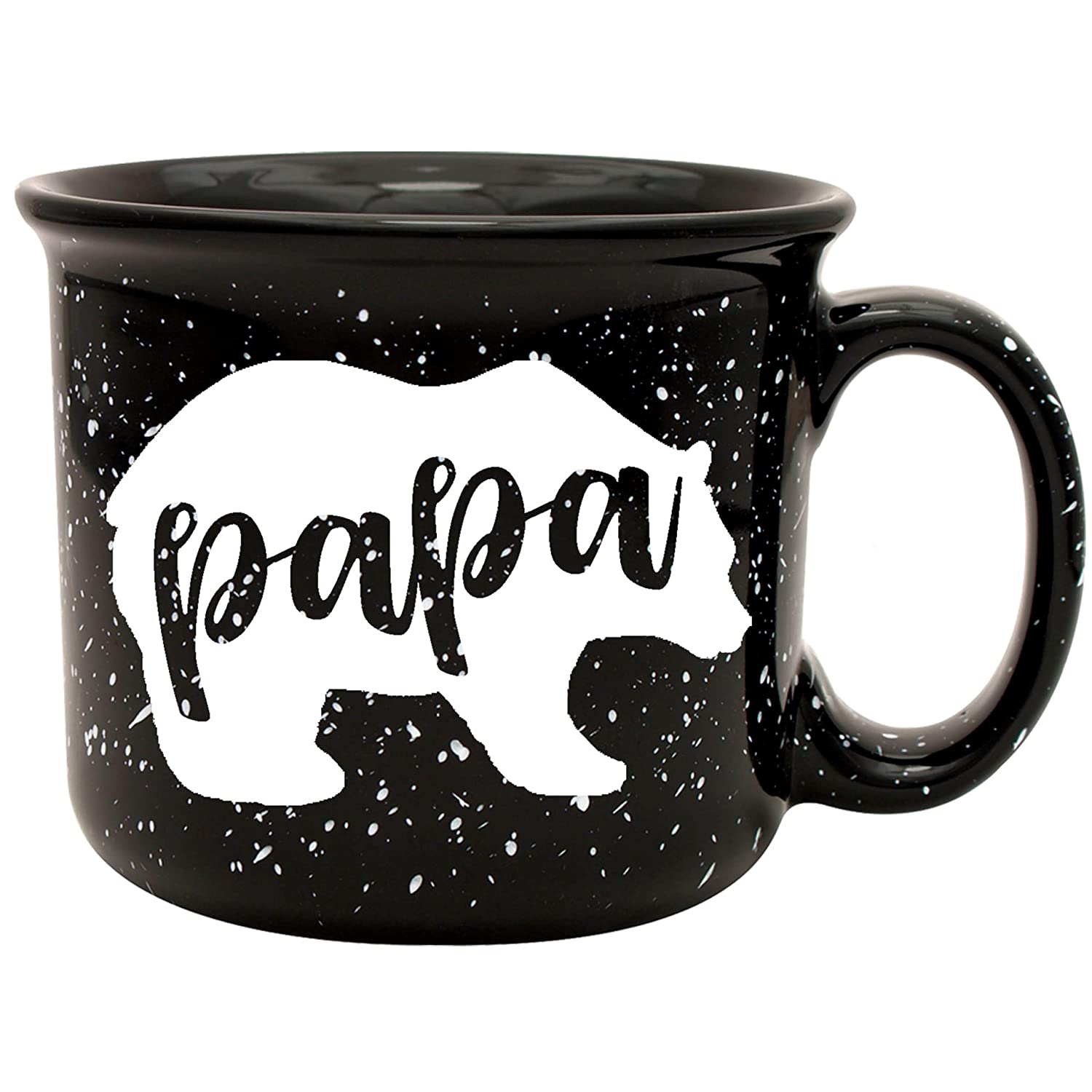 Papa Bear Coffee Mug for Dad, Father, Grandpa, Husband - Unique Fun Gifts for Men, Father's Day, Christmas (Black)