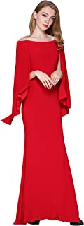 ChengDeYou Women'sย Off Shoulder Cocktail Clubย Bodycon Formal Evening Gown Maxi Dress with Cape Long Sleeve