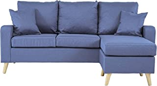 Divano Roma Furniture EXP74-LBU Middle Century Modern Linen Fabric Small Space Sectional..