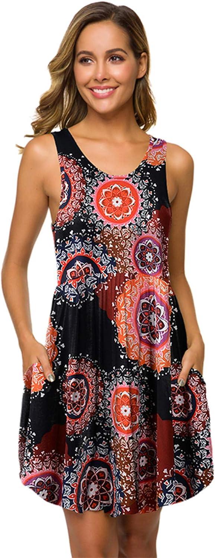 Kafilc Women's Round Neck Sleeveless Bohemian Dress Floral Print Summer Casual Dress with Pockets…