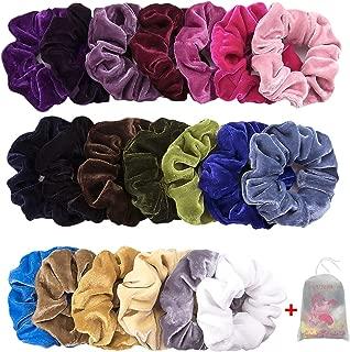 Velvet Scrunchies for Hair, CUTEFA 20 Pack Deep Colors Simple Hair Scrunchies High Elastic Rubber Band Hair Rope Bobbles Hair Ties