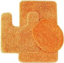 Daniel's Bath Daniel's Bath & Beyond 3 Piece Set 31'' Bath 20'' Contour Mat and 18'' x 18.5'' Lid, Elite Frizzy Solid Orange