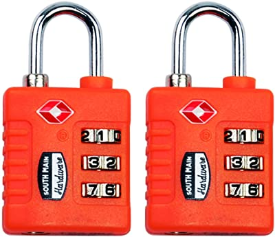 South Main Hardware 810108 TSA-Accepted Resettable Luggage Lock (2 Pack), Orange