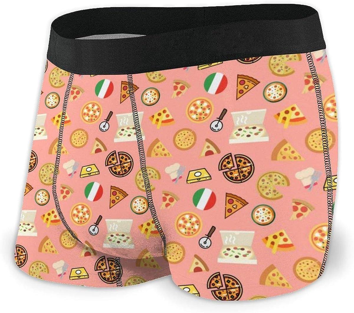 Randolph Wordsworth Mens Boxer Briefs Cartoon Cute Italian Pizza Pink Trunks Bikini Underpants Boys Underwear