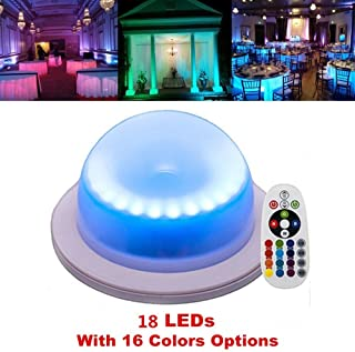 ARDUX LED Rechargable Waterproof Decoration LED Base Lights with Remote Control 16 Colors Color-Changing for Under Table Party Event Birthday Outdoor Indoor (Pack of 1)
