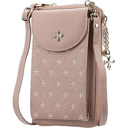 Handy Schultertasche Damen, Eslcorri Leder Handytasche zum Umhängen, Frauen Fashion Handy-Umhängetasche Brieftasche, Geldbörse mit Kartenfächer für Handy unter 6.5'' (Khaki)
