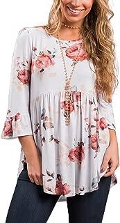 iGENJUN Women's Scoop Neck 3/4 Ruffle Detailed Sleeve Floral Tops Blouse