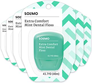 Amazon Brand - Solimo Extra Comfort Mint Dental Floss, 40 M (Pack of 6)