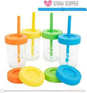 Kids 8oz Glass Mason Jar Drinking Cups with Straw Lids + Leak Proof Regular Lids + Silicone Straws + Cleaning Brush - Spill Proof, Sippy Cups for Toddlers, Kids Drinking Glasses, Food Storage-4 Pack