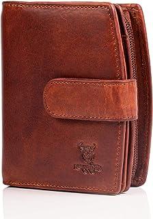 MATADOR Damen Geldbörse aus Echt Leder mit TÜV Geprüfter RFID/NFC Schutz Portemonnaie in braunem Antik Vintage Design, Gel...