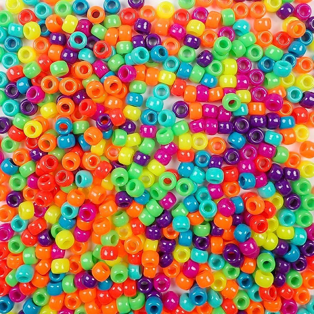 Bold & Bright Neon Multicolor Mix Plastic Pony Beads Bulk 6x9mm, 1000 Beads