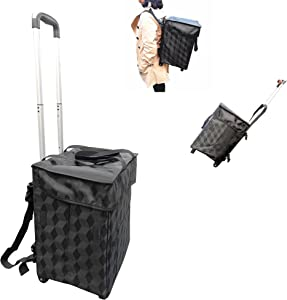 Fineget Shopping Grocery Cart with 2 Wheels Foldable Rolling Tote Utility Trolley Collapsible Bag for Women Senior Beach Picnic Laundry Duffel School Teacher Backpack Straps Black Food Delivery