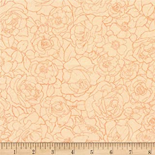 Robert Kaufman Alphonse Mucha Flowers Digital Fabric, Peach, Fabric By The Yard