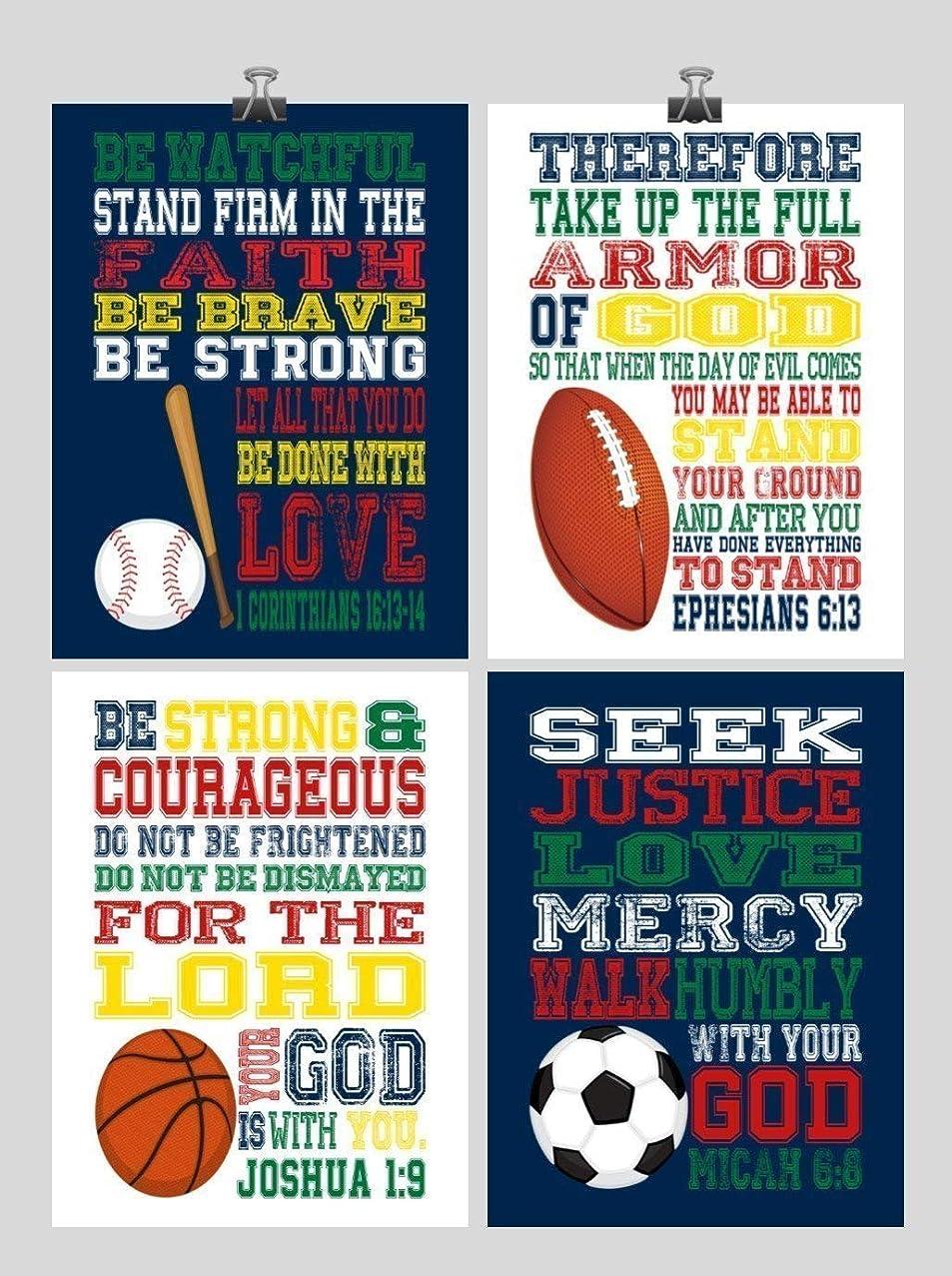 Sports Inspirational Nursery Art Set of 4 Prints - Baseball, Football, Soccer, Basketball - Playroom or Kids Room Decor