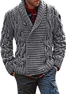 Bbalizko Mens Ribbed Knit Chunky Cardigan Double Breasted Shawl Collar Sweater Jacket